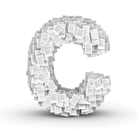 Letter  C, from thousands of documents font Stock Photo - 16861754