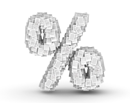 Percent sign , from thousands of documents font Stock Photo