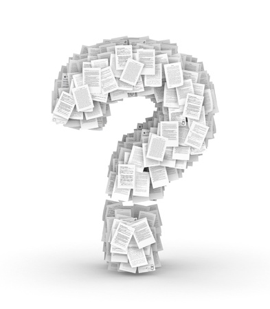 bureaucratism: Question mark , from thousands of documents font