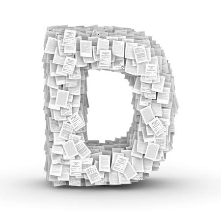 bureaucratism: Letter D, from thousands of documents font