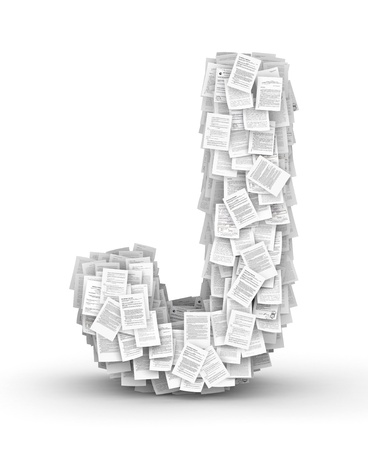 Letter  J, from thousands of documents font Stock Photo - 16861746