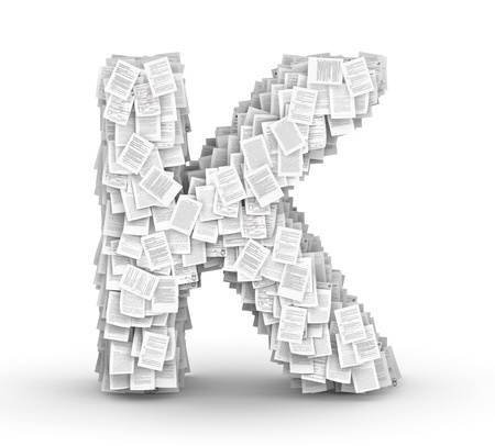Letter  K, from thousands of documents font Stock Photo - 16861758