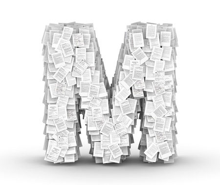 bureaucratism: Letter  M, from thousands of documents font Stock Photo