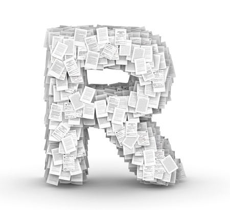 bureaucratism: Letter  R, from thousands of documents font Stock Photo