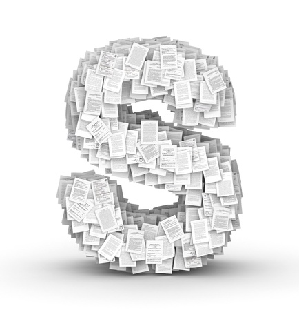 Letter  S, from thousands of documents font Stock Photo - 16861757
