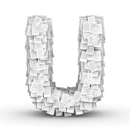bureaucratism: Letter  U, from thousands of documents font