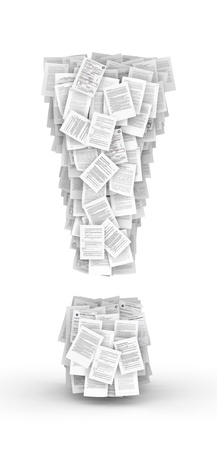 bureaucratism: Exclamation mark , from thousands of documents font Stock Photo