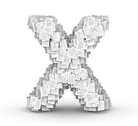 bureaucratism: Letter X, from thousands of documents font