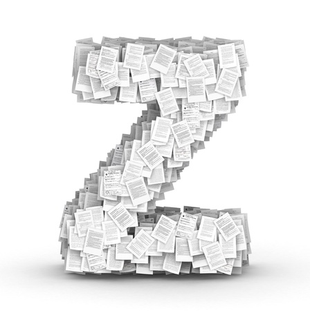 bureaucratism: Letter Z, from thousands of documents font