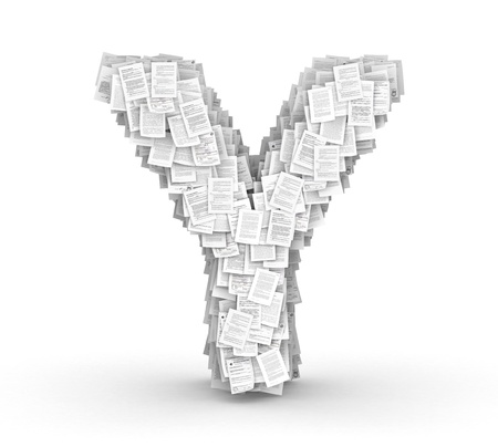bureaucratism: Letter Y, from thousands of documents font Stock Photo