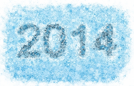 2014 year title, frosty blue snowflakes alphabet on white background photo