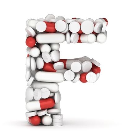 heal care: Letter F, alphabet of medicine pills