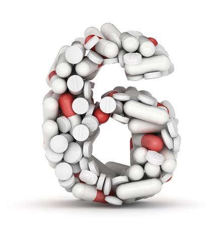 number 6: Number 6, alphabet of medicine pills