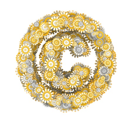 ox eye daisy: Copyright sign from yellow chamomile flowers, letter shape Stock Photo