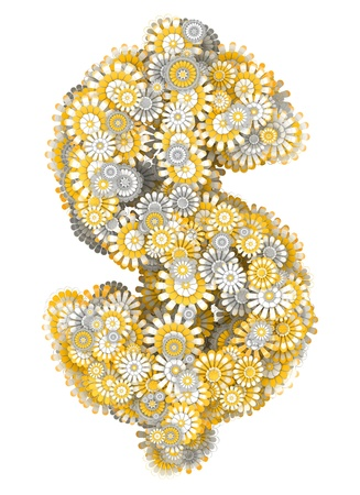 ling: Dollar sign from yellow chamomile flowers, letter shape Stock Photo
