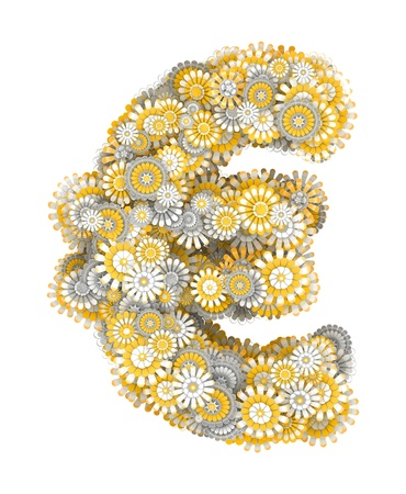 ox eye daisy: Euro sign from yellow chamomile flowers, letter shape