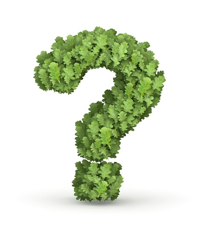 health questions: Question mark from fresh green oak grow leaves