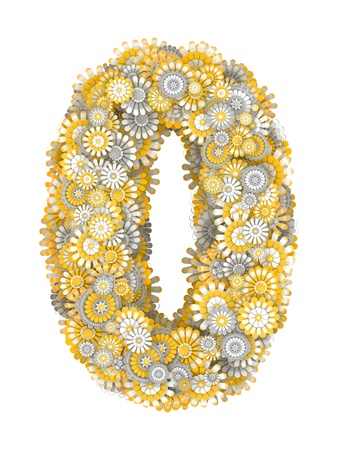 ling: Number 0 from yellow chamomile flowers, letter shape