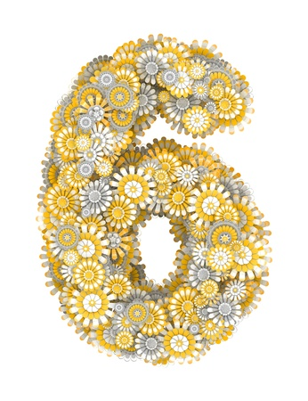ling: Number 6 from yellow chamomile flowers, letter shape Stock Photo