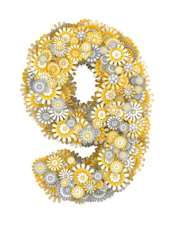 ox eye: Number 9 from yellow chamomile flowers, letter shape Stock Photo