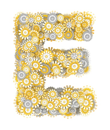 ling: Alphabet from camomile flowers, letter E shape Stock Photo