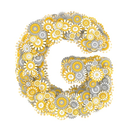 ox eye: Alphabet from camomile flowers, letter G shape