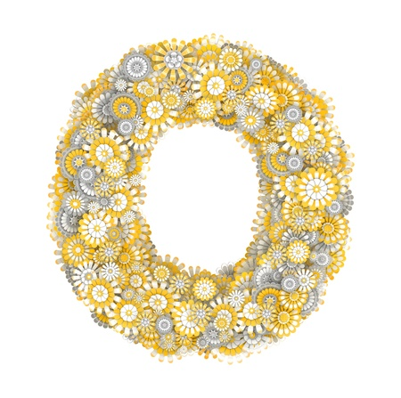 ox eye: Alphabet from camomile flowers, letter O shape