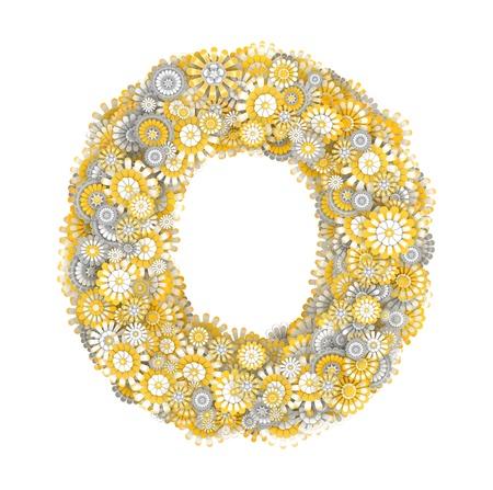 ox eye daisy: Alphabet from camomile flowers, letter O shape