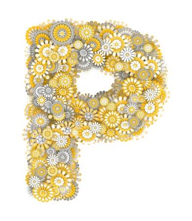 ox eye daisy: Alphabet from camomile flowers, letter P shape