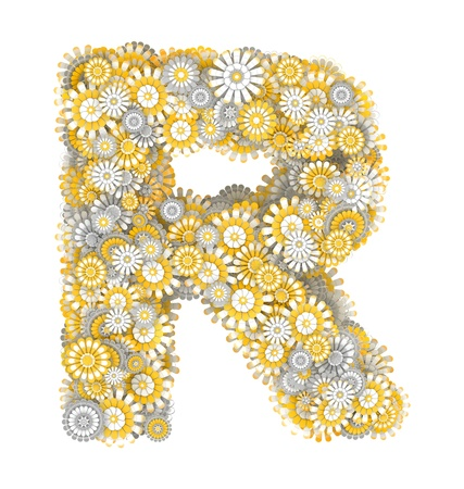 ling: Alphabet from camomile flowers, letter R shape