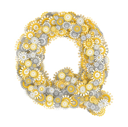 ling: Alphabet from camomile flowers, letter Q shape Stock Photo