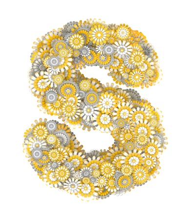 ling: Alphabet from camomile flowers, letter S shape