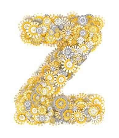 ox eye daisy: Alphabet from camomile flowers, letter Z shape