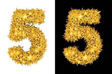 Gold shiny stars number 5, black and white background photo
