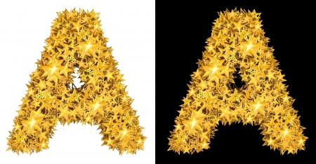 Gold shiny stars letter A, black and white background photo