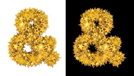 ampersand: Gold shiny stars ampersand sign , black and white background