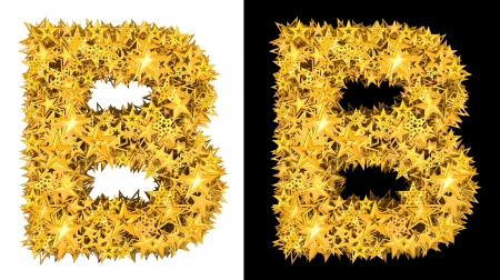 Gold shiny stars letter B, black and white background photo
