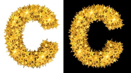 Gold shiny stars letter C, black and white background photo