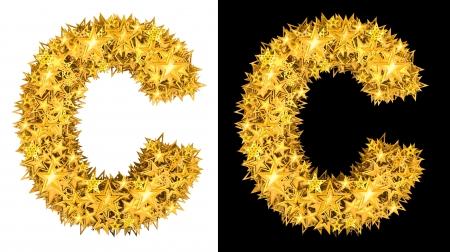 metaal: Goud glanzend sterren letter C, zwarte en witte achtergrond