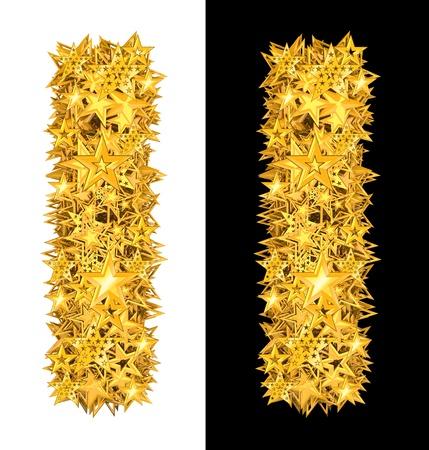 yıldız: Altın parlak yıldız mektup i, siyah ve beyaz arka plan