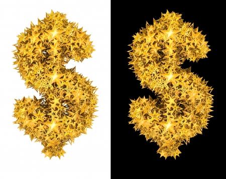 honorarium: Gold shiny stars dollar sign , black and white background Stock Photo