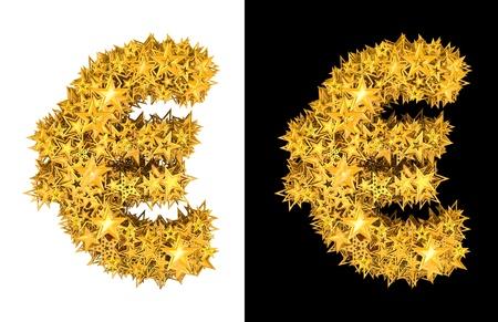 honorarium: Gold shiny stars euro sign , black and white background