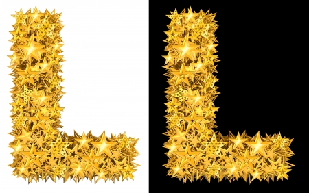five star: Gold shiny stars letter L, black and white background Stock Photo