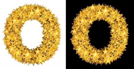 Gold shiny stars letter ,O black and white background