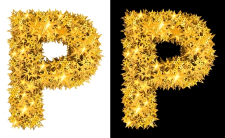 Gold shiny stars letter P, black and white background photo