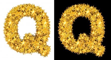 Gold shiny stars letter Q, black and white background Stock Photo - 17994341