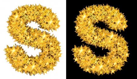 oscar: Gold shiny stars letter S, black and white background