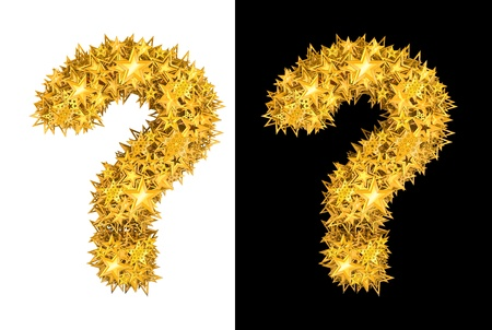 Gold shiny stars question mark , black and white background photo