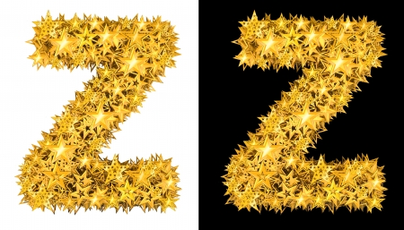 Gold shiny stars letter Z, black and white background photo