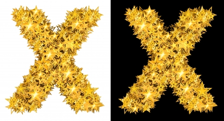 Gold shiny stars letter X, black and white background photo